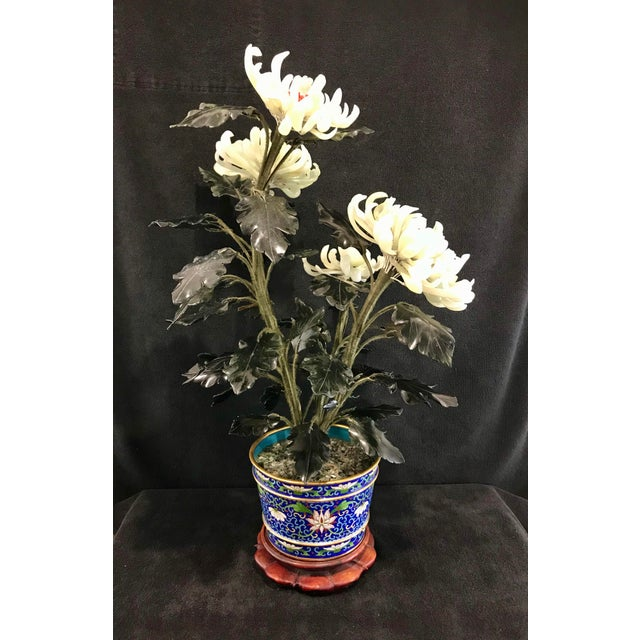 """Metal Vintage Chinese Chrysanthemum Jade Tree With Cloisonné Pot and Stand - 24"""" Tall For Sale - Image 7 of 12"""