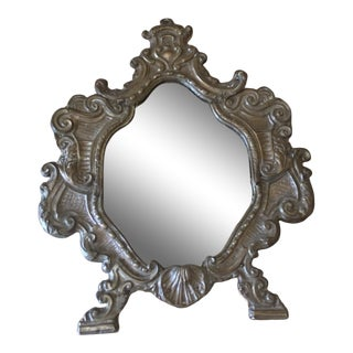 Antique Petite Scrolled Vanity Mirror For Sale