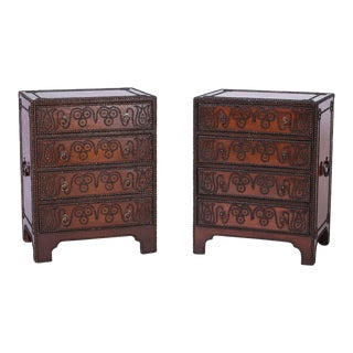 Anglo-Indian Leather Clad Studded Chests - A Pair For Sale