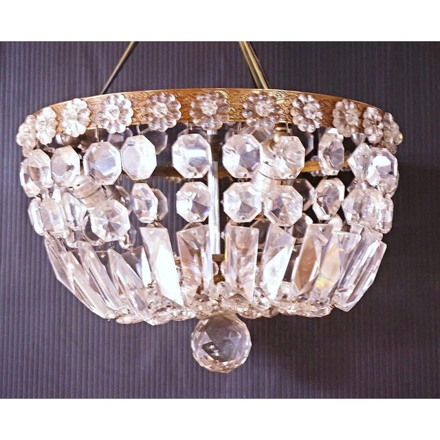 Hollywood Regency Brass & Crystal Dome Chandelier For Sale - Image 3 of 5