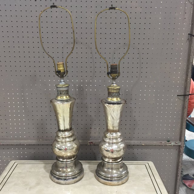 A pair of period mercury glass lamps. Lamps have a nice worn look but are as found and sold as is Measurement to top of...