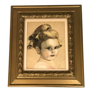 Vintage 1940's Portrait of a Young Girl Pastel Drawing For Sale