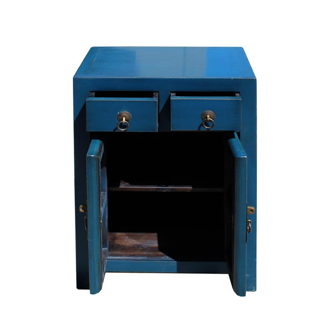 2010s Oriental Distressed Teal Blue Chathams Lacquer Side End Table Nightstand For Sale - Image 5 of 7
