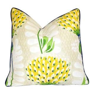 "Thibaut Tiverton Yellow Floral 20"" X 20"" Pillow For Sale"