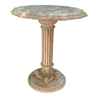 1950s Hollywood Regency Marble Side Table For Sale