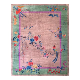"1920s Antique Chinese Art Deco Rug-9'3"" X 11'9"" For Sale"