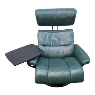 1970s Vintage Ekornes Stressless Chair & Stressless Tray For Sale