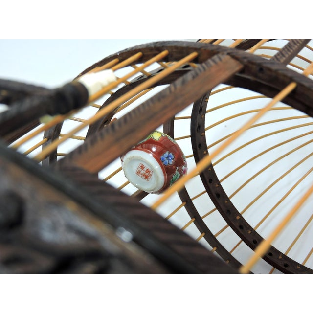 Brown Vintage Chinese Bamboo Bird Cage With Porcelain Bowls, Cicadas & Dragon Decorations For Sale - Image 8 of 10