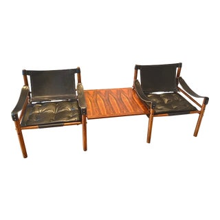 1960s Mid-Century Modern Leather and Rosewood Chairs For Sale