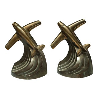 Art Deco Bronze Plated Airplane Bookends C. 1930s