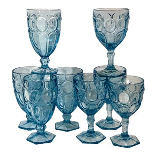 Fostoria Moonstone Light Blue Water Goblets & Ice Tea Glasses - Set of 8 For Sale