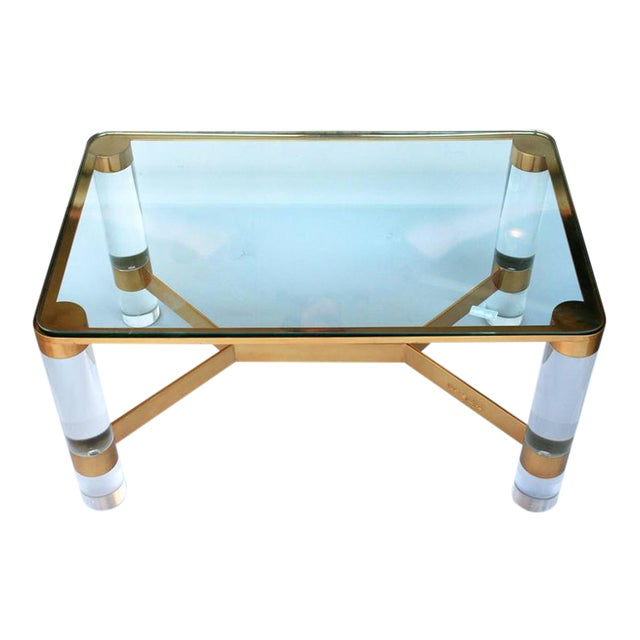 Karl Springer Lucite and Brass Occasional Table For Sale