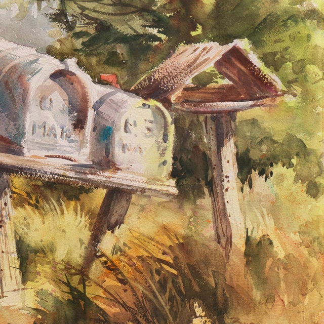 1970s 'Rural Route Mailboxes' by Jane Burnham, California Woman Artist, Society of Western Artists For Sale - Image 5 of 8
