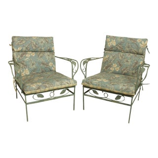 Pair Vintage Grape Wrought Iron Patio Lounge Arm Chairs For Sale