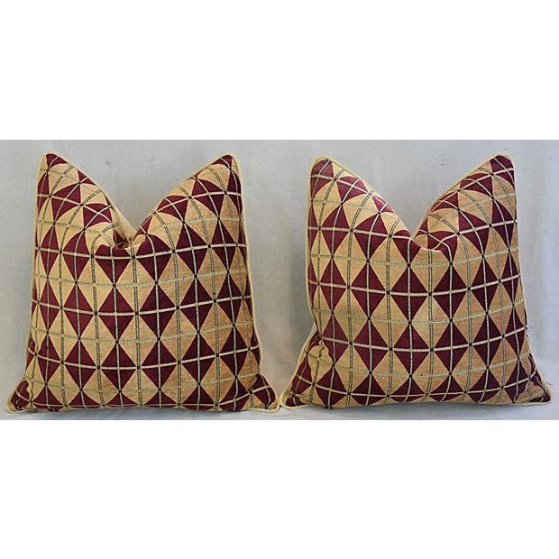 """Early 21st Century Diamond Chenille & Velvet Feather/Down Pillows 24"""" Square - Pair For Sale - Image 5 of 14"""
