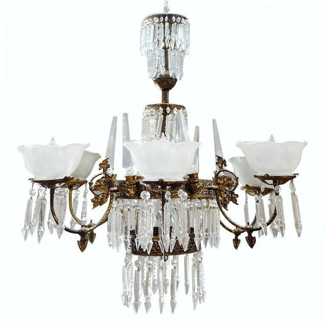 1980s Renaissance Style Brass and Crystal Gas Style Chandelier For Sale - Image 5 of 5