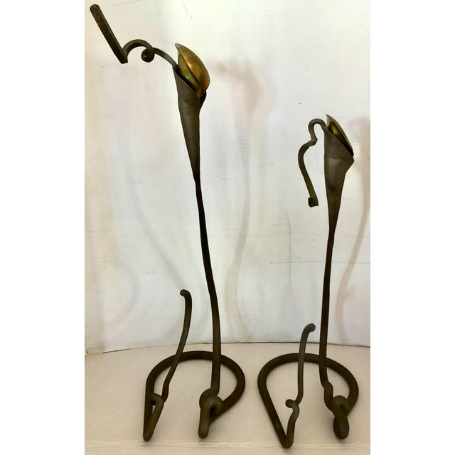 1980s 2 Art Nouveau Style Candle Holder For Sale - Image 5 of 10