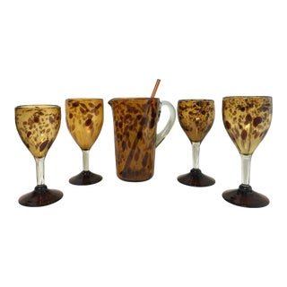 Late 20th Century Regency Style Hand Blown Glassware Leopard Cocktail Set - 6 Pieces For Sale