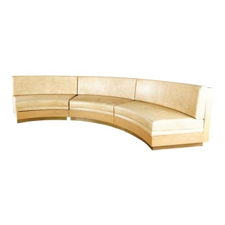 Contemporary Banquette Crescent Form Leather and Wood Sofa For Sale