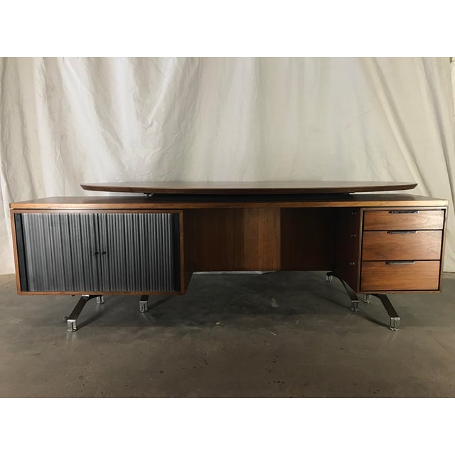 Wonderful restored condition with amazing coloration and figure. Desk top color is hard to capture but is a deep walnut...
