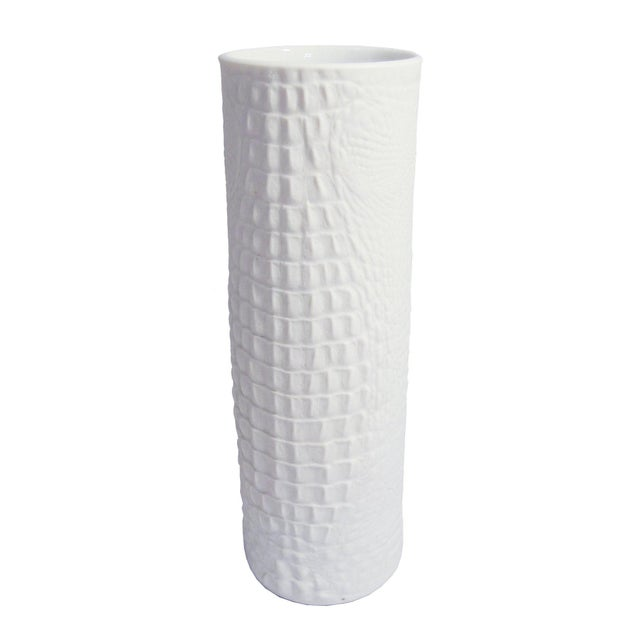 World Class White Modernist Cylinder Bisque Vase With Crocodile