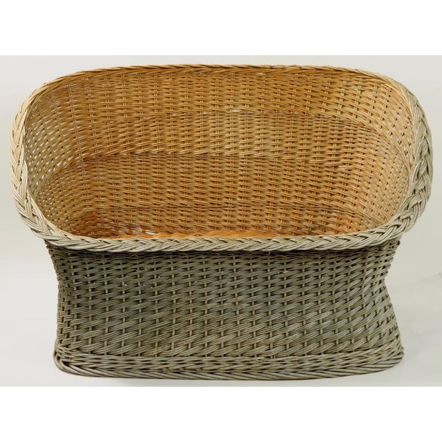 1970s Mod Bar Harbor Style Woven Wicker Settee For Sale - Image 5 of 13