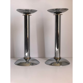 Vintage Chrome Modernist Candle Holder - a Pair Preview
