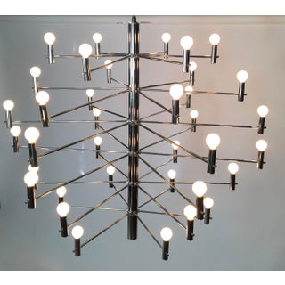 1970's Vintage Italian Chrome Chandelier Preview