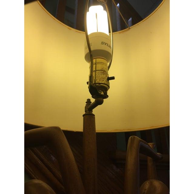 """1950s Vintage Art Nouveau """"Twin Dancers"""" Sculptural Wood Lamp For Sale - Image 5 of 8"""