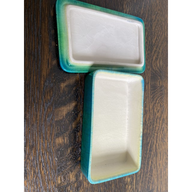 Mid Century Italian lidded ceramic box. Gorgeous crackle glaze in greens and turquoise.