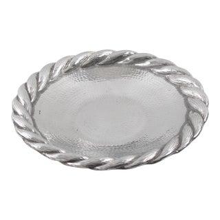 Irman France Art Deco Embossed Aluminum Platter Barware Tray For Sale