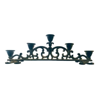 Zinc Finish Scrollwork Design Five Candle Holder For Sale
