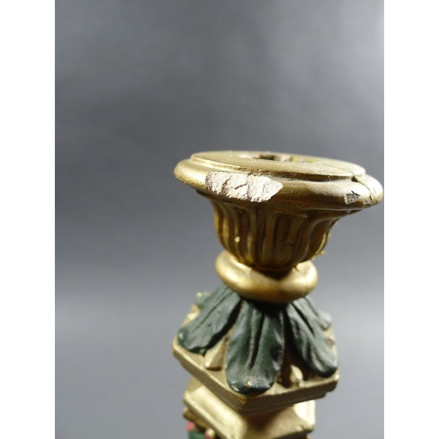 1920 Hand Painted Floral Chalkware Candle Holder - Image 4 of 5