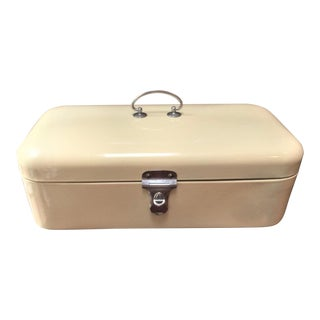 Vintage Enameled Bread Box or Lunch Box For Sale