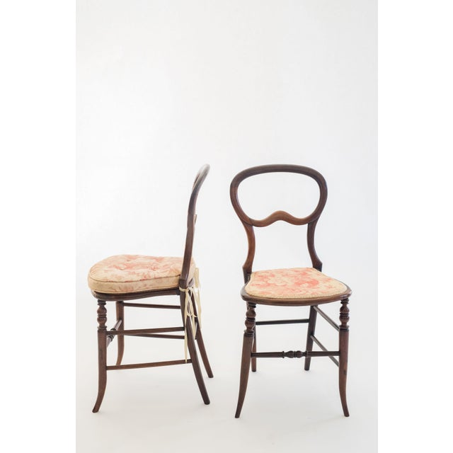 Late 19th Century Pair of Mahogany Balloon-Back Chairs/Bennison Seats For Sale - Image 5 of 7
