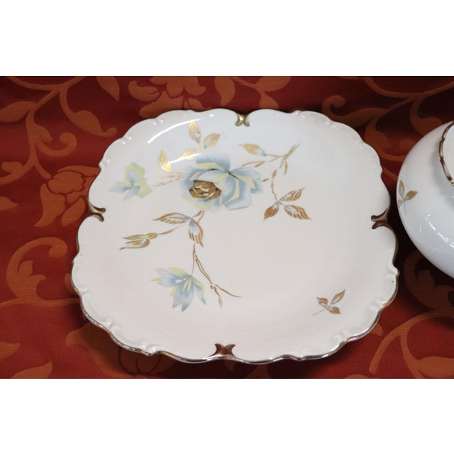 Hand Painted and Gold Porcelain Centerpiece by J Seltmann 2 Pieces, 1930s For Sale - Image 6 of 11