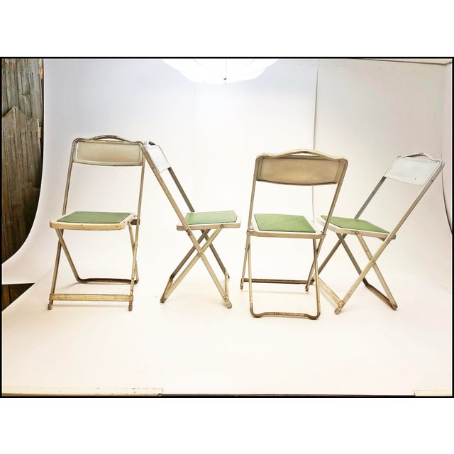 Vintage White Metal Folding Chairs With Green Vinyl Seats - Set of 4 For Sale - Image 11 of 11