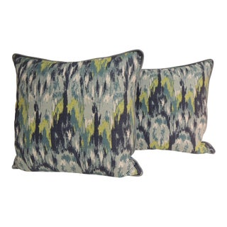 Pair of Vintage Colorful Square Bark Cloth Large Decorative Pillows With Cotton Welt For Sale