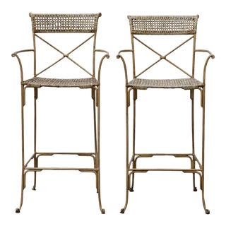Neoclassical Styled Metal Bar Stools, Pair For Sale