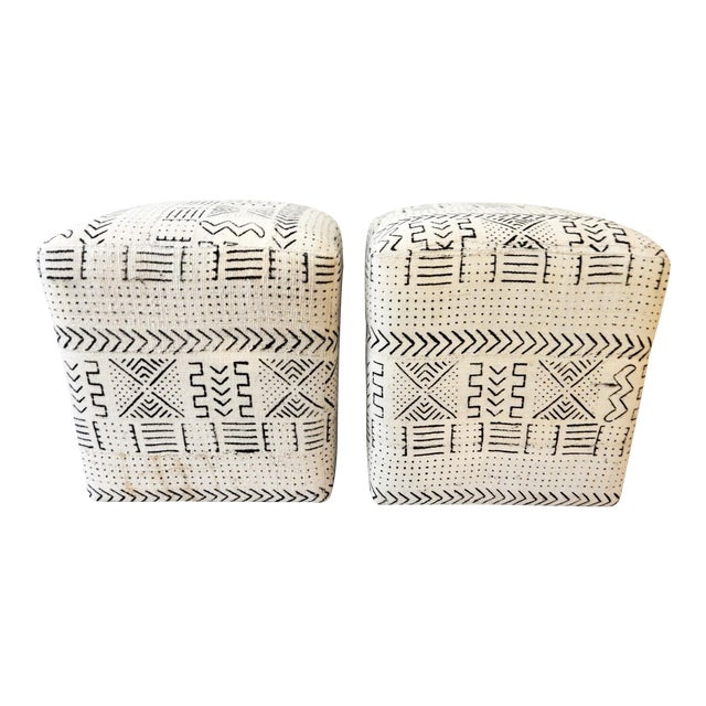 Black & White Mud Cloth Stools - Pair - Image 1 of 9