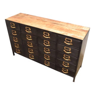 Vintage Card Catalog Inspired Library Cabinet For Sale