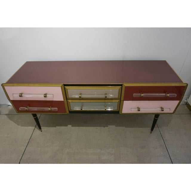 1960s 1960 Italian Vintage Rose Pink Gray Wine Gold 6 Drawers Sideboard / Console For Sale - Image 5 of 13