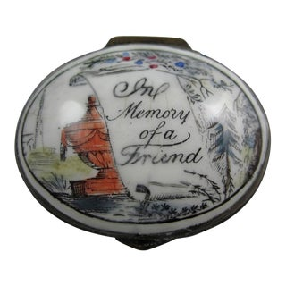 18th Century English Bilston Battersea Enamel Snuff Box, in Memory of a Friend For Sale