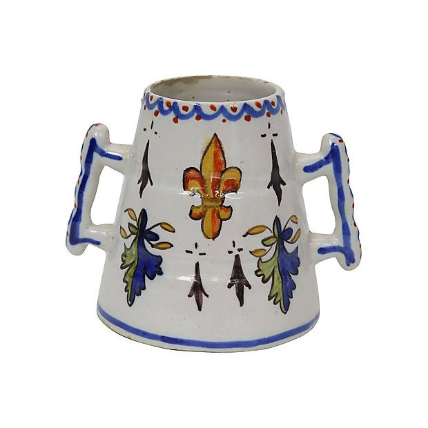 French Faience posy vase with crest and fleur-de-lis decoration. Maker's mark on underside. Usual faience flakes and flaws.