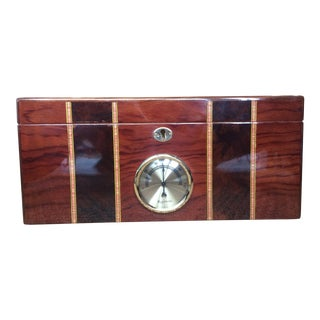 Cigar Humidor (Honduran Mahogany With Parquet Inlay) For Sale