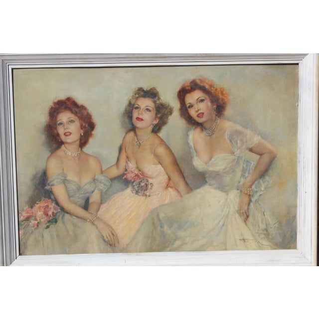 "Hollywood Regency Mid 20 C. Massive Painting of ""Gabor Sister"" by Artist Pal Fried For Sale - Image 3 of 10"