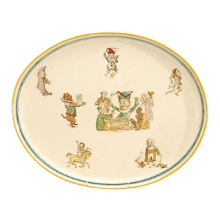 "19th Century Wedgwood Creamware ""Punch"" Decorated Platter or Tray For Sale"