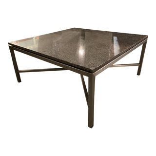 Contemporary Custom Made Iron Table With Granite Top and Brushed Steel Finish For Sale