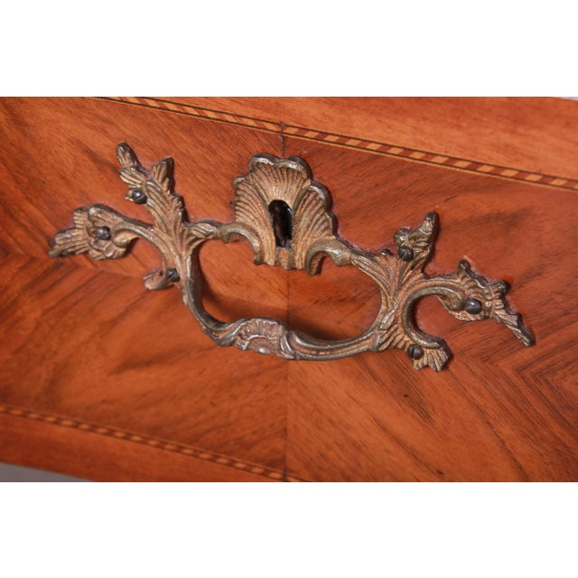 Louis XV Style Inlaid Mahogany Marble Top Nightstands or Commodes, Pair For Sale - Image 9 of 13