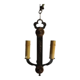 Fontana Arte Style Iron & Glass Chandelier For Sale